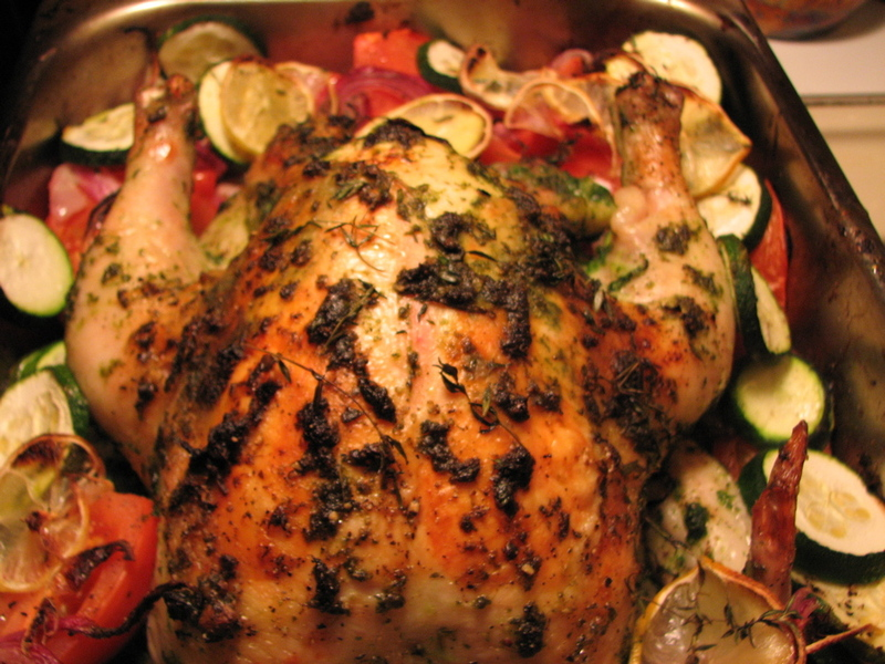 herb chicken roasted on a bed of herb roasted chicken and herb roast ...