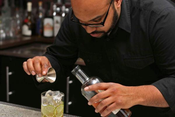 Province Bartender Mixing the Winter Gimlet